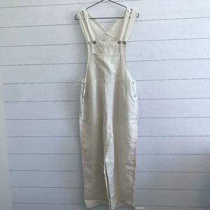 Soft Surroundings Linen Overalls Wide Leg